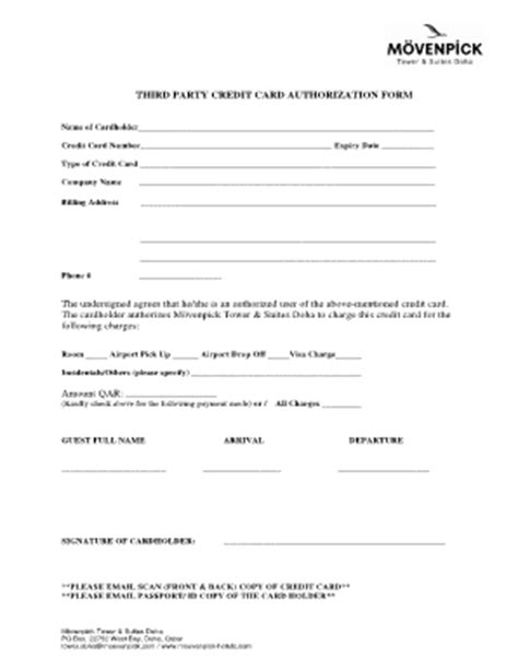 3rd credit card authorization form template floridays resort 3rd credit card authorization pdf