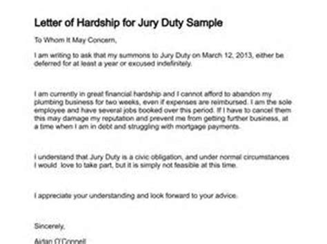 Sle Hardship Letter To Get Out Of Jury Duty Letter To Get Out Of Jury Duty Letter Of Recommendation