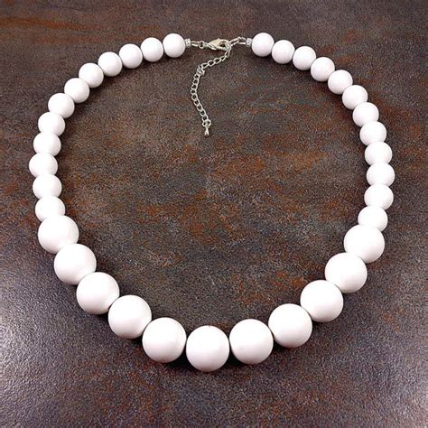 white bead necklace white beaded necklace statement necklace chunky necklace