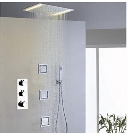 shower jets milan 14 quot by 20 quot recessed mounted led shower with
