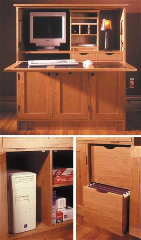 home office hideaway computer desk woodworking plan from