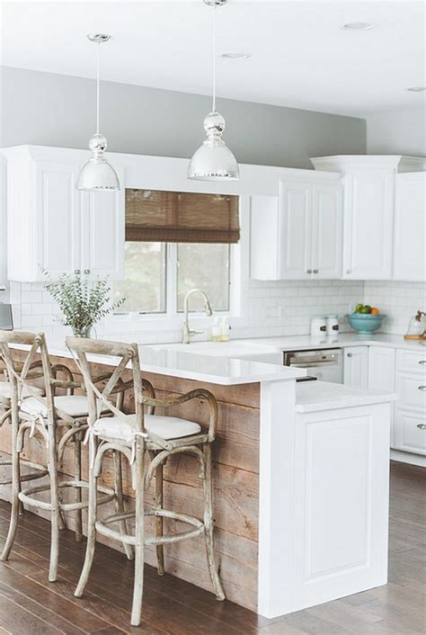 reclaimed barn wood kitchen island at home on the range breezy summer house on lake wisconsin clad in chic modern