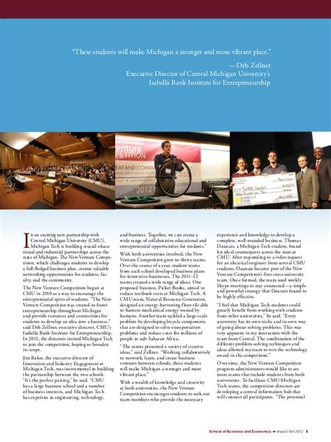 Central Michigan Executive Mba by Impact Magazine School Of Business And Economics
