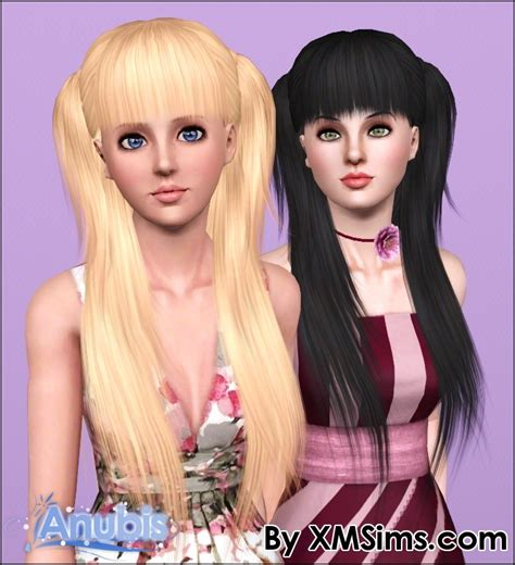 sims 3 pigtails with bangs two dimensional ponytail with bangs xm flora 005