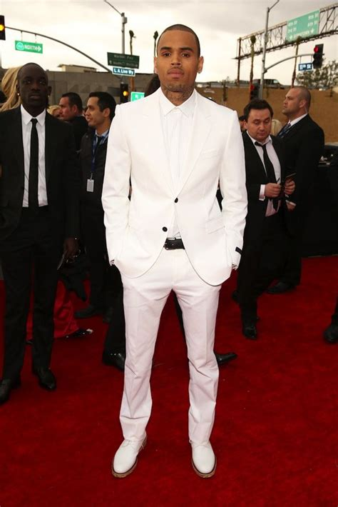 in white suit chris brown wearing white