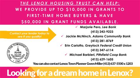 lenox housing trust grant time homebuyers