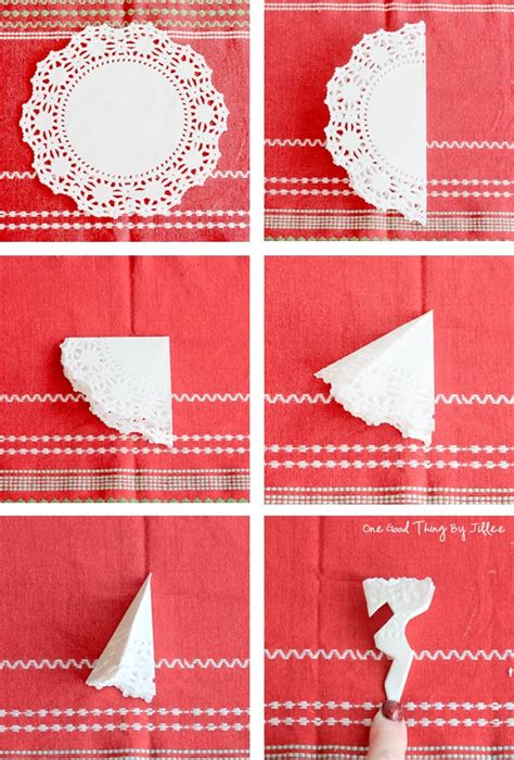 How To Make A Paper Doily - make a beautiful doily snowflake garland one thing