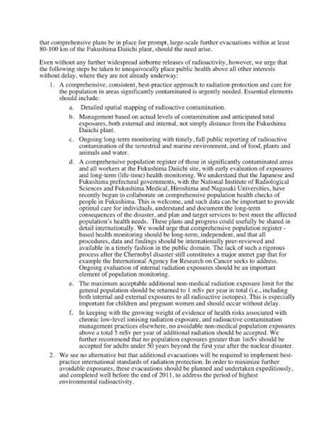 Demand Letter Bp 22 ippnw 核戦争防止国際医師会議 から日本政府へ勧告 国際的に最善といえる水準の放射線防護策を実施するには
