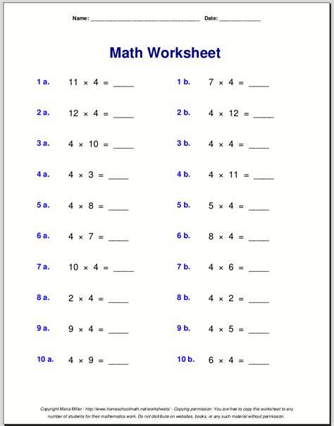 printable multiplication table worksheets grade 4 multiplication worksheets for grade 3