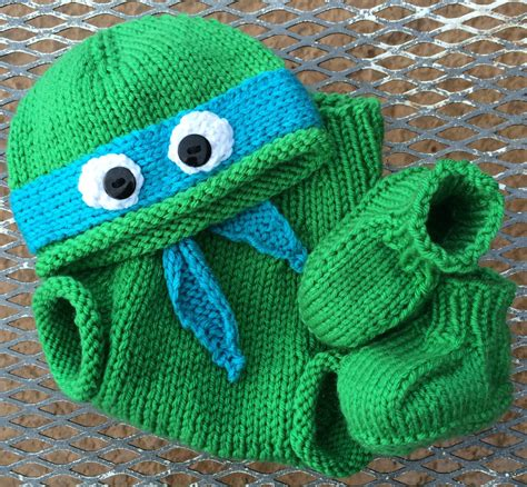 knitting pattern for ninja turtles hand knit teenage mutant ninja turtle hat with booties and
