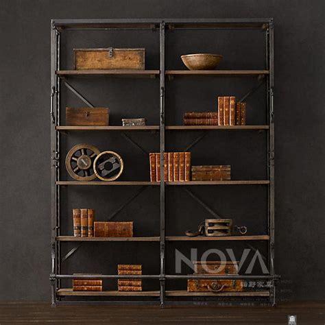 american iron wood display cabinet old retro minimalist living room bookshelf library shelves american vintage iron wood bookcase free combination ikea