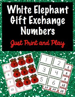 White Elephant Printable Numbers