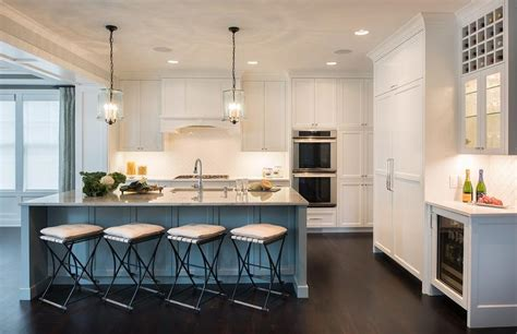 Blue Gray Kitchen Island with Gray Granite Countertop