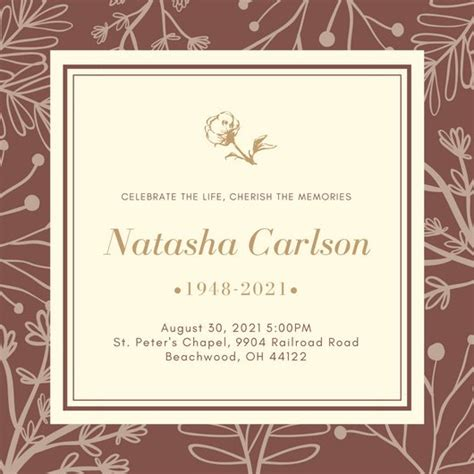 Memorial Service Notice Template Choice Image Template Design Ideas Funeral Invitation Template