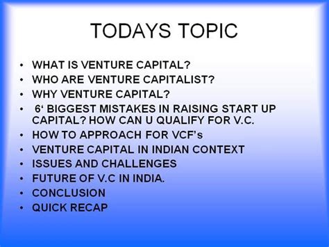 Ppt On Venture Capital For Mba Students by Venture Capital In India Authorstream