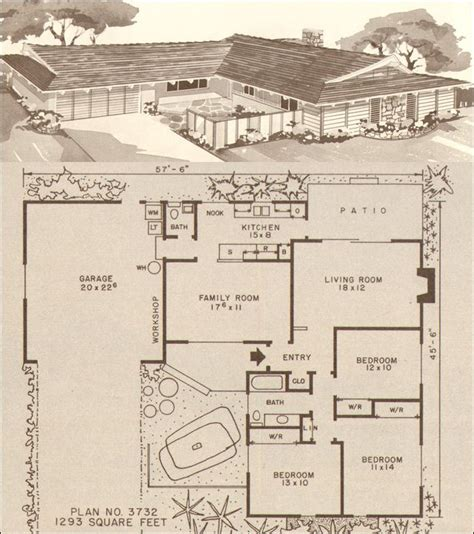 average house plans this average 1200 square foot house plan for the late 50s and early 60s offered a bath