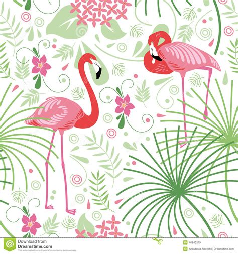 Lilly Pulitzer by Seamless Floral Pattern Pink Flamingo Stock Vector
