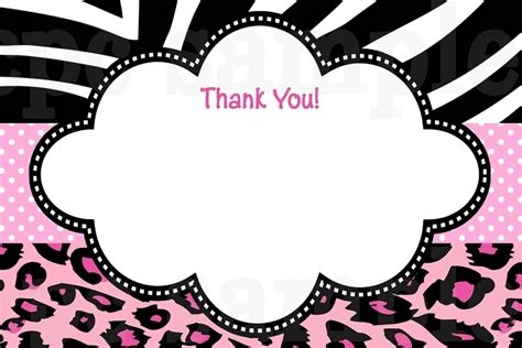 printable zebra print cards hot pink leopard zebra print thank you cards