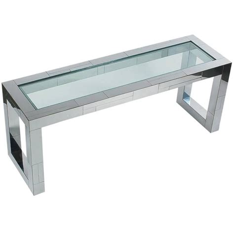 chrome and glass sofa table paul cityscape chrome and glass console sofa table