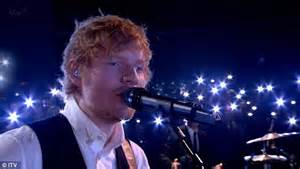 ed sheeran x factor ed sheeran smartens up in waistcoat as he performs on x