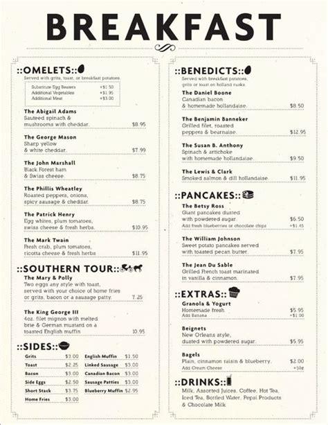 brunch menu ideas restaurant breakfast menu ideas world of printable and chart