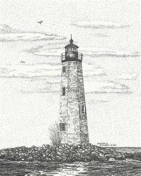 new point comfort lighthouse new point comfort lighthouse ii drawing by stephany elsworth