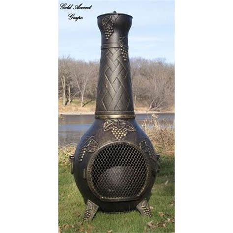 Cheap Chiminea Blue Rooster Grape Leaf Cast Aluminum Gas Chiminea