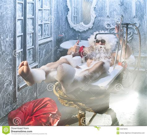 santa in the bathtub santa claus in the bathroom royalty free stock images