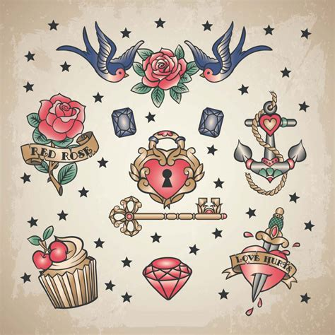tattoo vintage designs retro set vector free