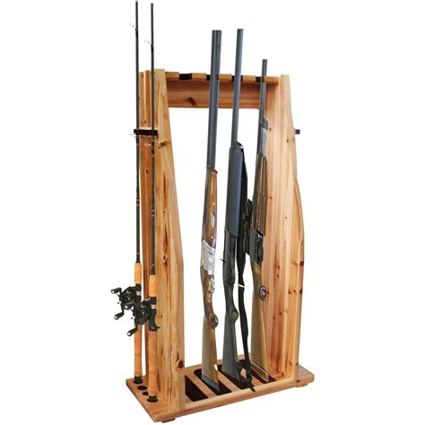 Gun Racks by Creek Log Cabin Style 4 Gun 8 Rod Combo Rack