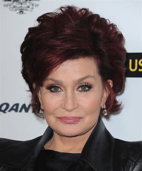 how to get osbournes haircolor sharon osbourne short straight formal hairstyle dark red