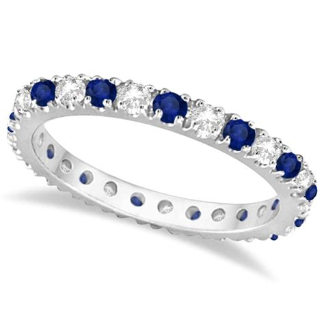 Blue Sapphire Memo 5 51ct blue sapphire eternity band ring guard 14k white