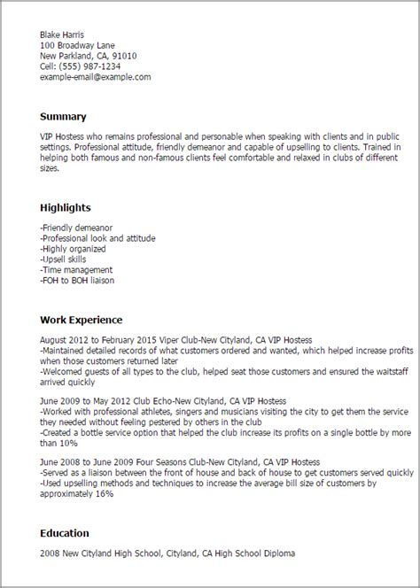 Hostess Resume by Vip Hostess Resume Template Best Design Tips Myperfectresume