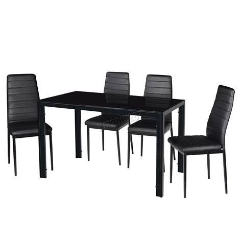 westwood glass dining table with 4 6 chairs set faux