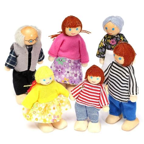 Wooden Furniture Dolls House Family Miniature 6 People Set Doll For Kid Child Ln Ebay