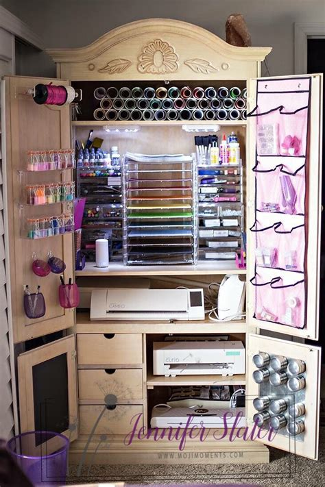 scrapbooking armoire scrapbook vinyl silhouette craft organization and