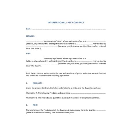 international sales 42 contract templates free premium templates