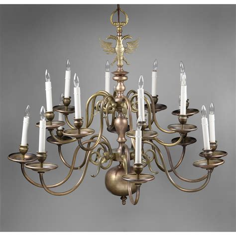 Flemish Brass Chandelier Early 20th C 16 Light Brass Flemish Chandelier With Eagle From Piatik On Ruby