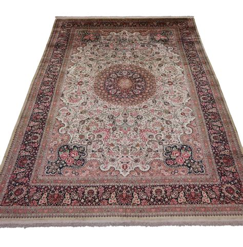 qum silk rug vintage silk qum rug with european style in soft colors for sale at 1stdibs