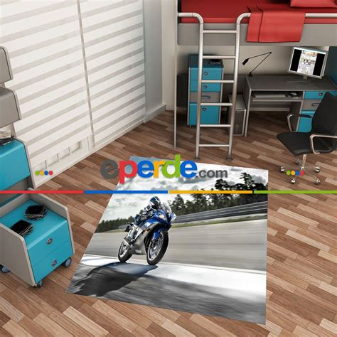 cocuk genc odasi motorsiklet desenli  baskili hali