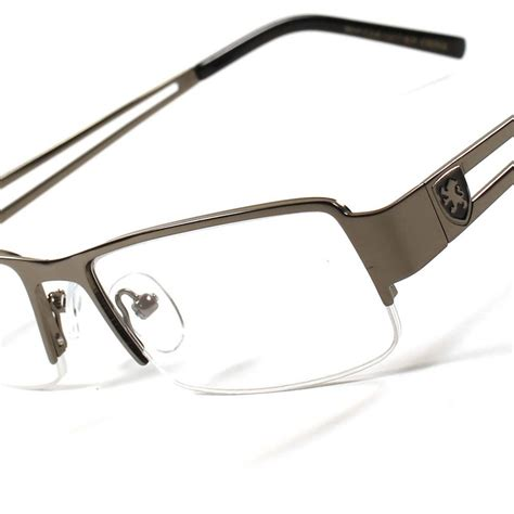 modern stylish metal rectangle half frame mens womens 3 50