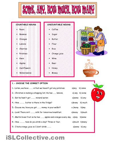esl some and any worksheets some and any worksheets printable
