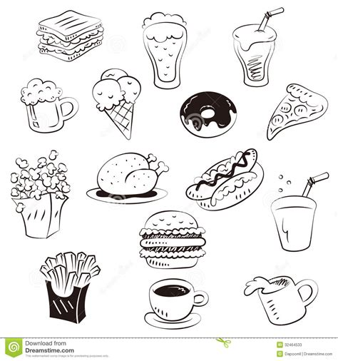 how to make a doodle sign up draw foods in doodle style stock vector