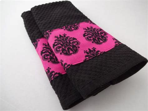 the twins girly bathroom bachelorette pad pinterest black and hot pink towel set kitchen bathroom towels by
