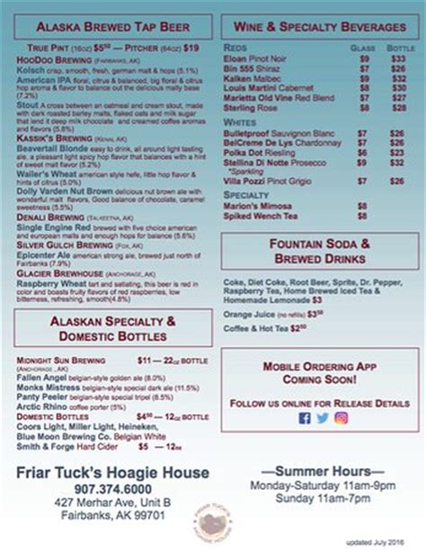 friar tucks hoagie house fairbanks menu prices