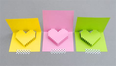 pixel pop up card template diy s activities crafts