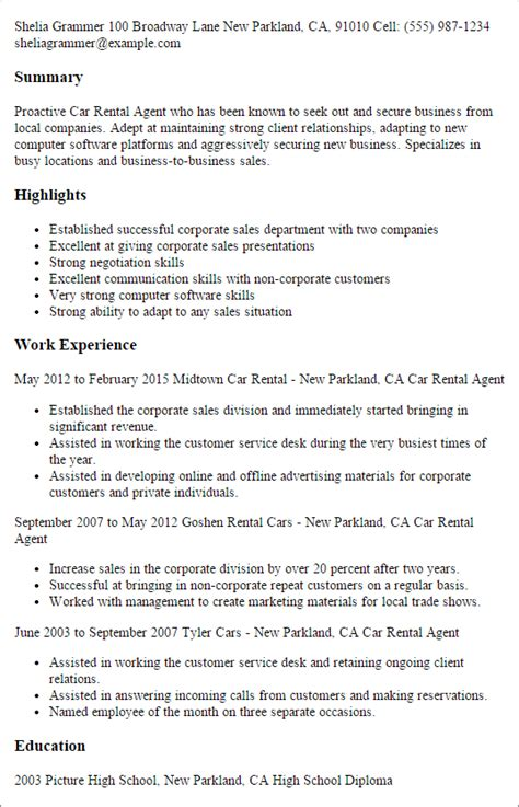 Sle Letter For Rent A Car 1 car rental resume templates try them now myperfectresume