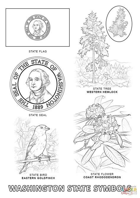 State Symbols Coloring Pages washington state symbols coloring page free printable