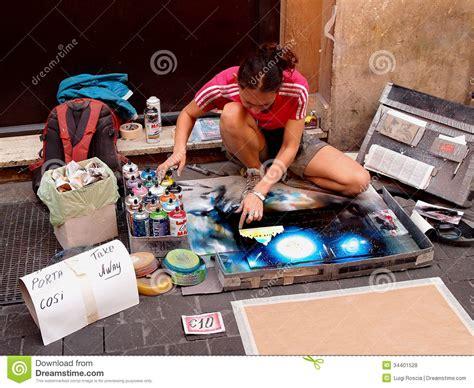 spray paint rome artist editorial stock photo image 34401528