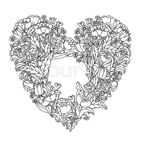 Home Design Asian Style by Hand Drawin Uncolored Elements Black And White Heart